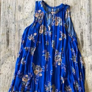 Free People blue floral tunic tank